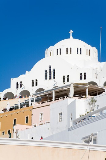 Stock Photo: 1486-14923 Cathedral of Candlemas of the Lord in Fira town, Santorini Island, Cyclades, Greece, Europe