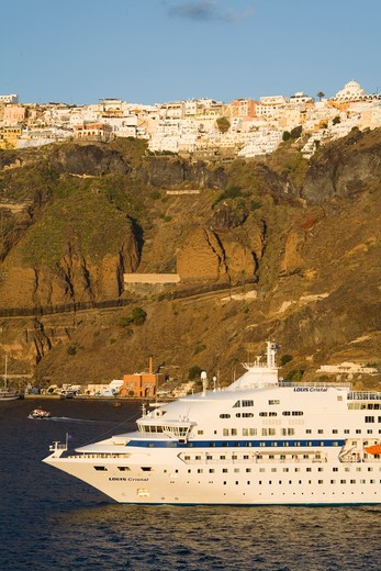 Cruise ship near Fira town, Santorini Island, Cyclades, Greece, Europe : Stock Photo