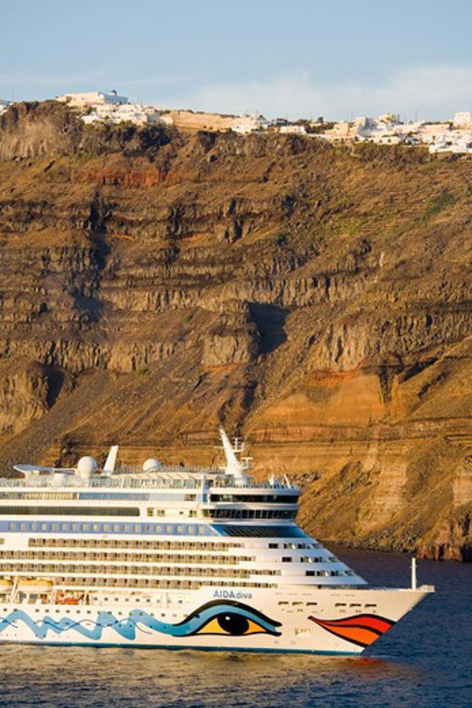 Stock Photo: 1486-14926 Cruise ship near Fira town, Santorini Island, Cyclades, Greece, Europe