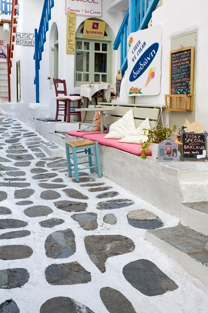 Stock Photo: 1486-14933 Restaurant in Mykonos Town, Island of Mykonos, Cyclades, Greece, Europe
