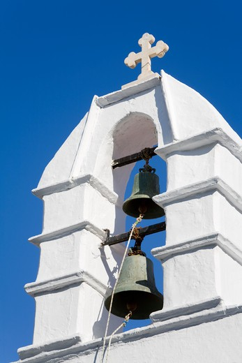 Stock Photo: 1486-14934 Church bell tower in Mykonos Town, Island of Mykonos, Cyclades, Greece, Europe