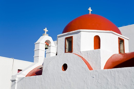 Stock Photo: 1486-14935 Red domed church in Mykonos Town, Island of Mykonos, Cyclades, Greece, Europe