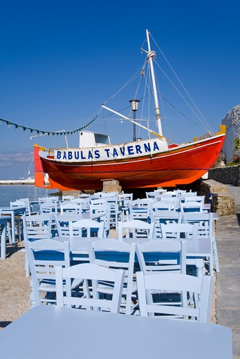 Waterfront restaurant in Mykonos Town, Island of Mykonos, Cyclades, Greece, Europe : Stock Photo