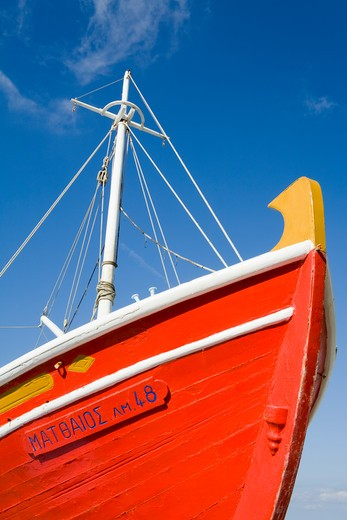 Fishing boat in Mykonos Town, Island of Mykonos, Cyclades, Greece, Europe : Stock Photo