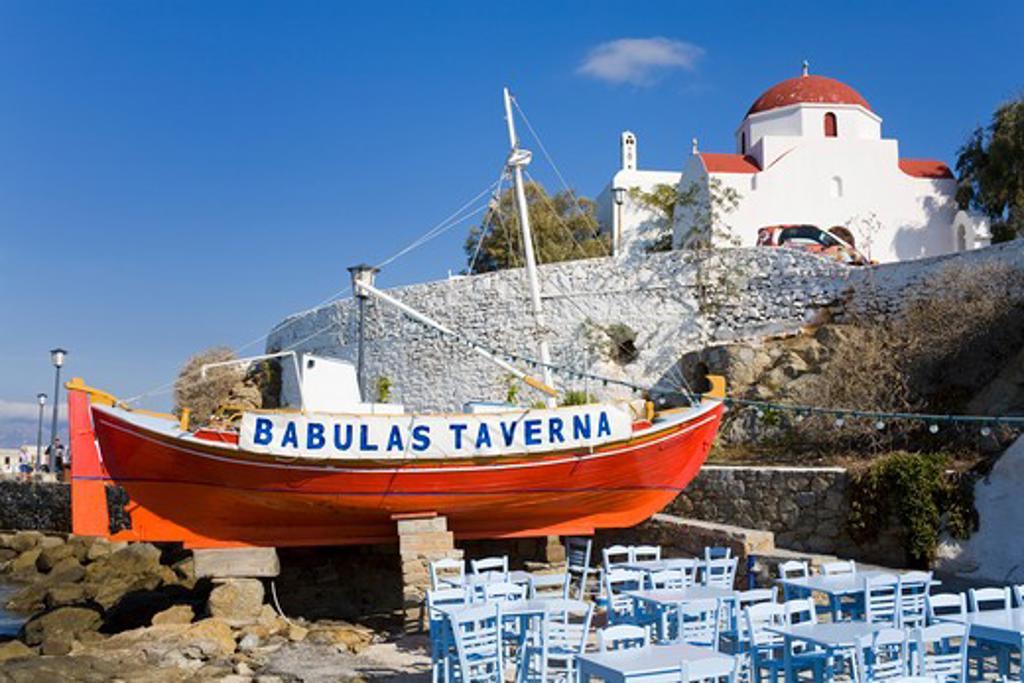 Restaurant in Mykonos Town, Island of Mykonos, Cyclades, Greece, Europe : Stock Photo