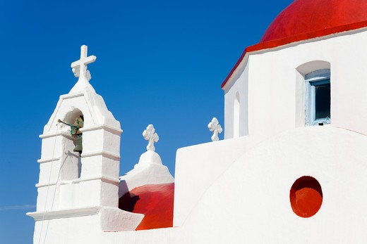 Stock Photo: 1486-14939 Red domed church in Mykonos Town, Island of Mykonos, Cyclades, Greece, Europe