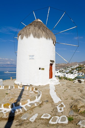 Bonis Windmill at the Folklore Museum in Mykonos Town, Island of Mykonos, Cyclades, Greece, Europe : Stock Photo