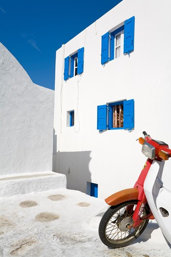 Scooter in Mykonos Town, Island of Mykonos, Cyclades, Greece, Europe : Stock Photo