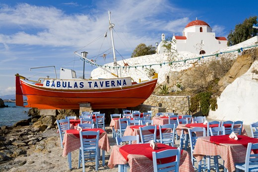 Restaurant in Mykonos Town, Island of Mykonos, Cyclades, Greece, Europe : Stock Photo