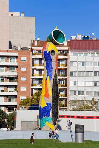 Stock Photo: 1486-14964 'Dona i Ocell' (Woman & Bird) sculpture in Joan Miro Park, L'Eixample District, Barcelona, Catalonia, Spain, Europe