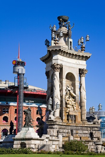 Stock Photo: 1486-14967 Placa d'Espanya Monument in Montjuic District, Barcelona, Catalonia, Spain, Europe