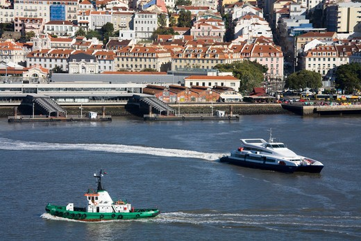 Ferry on the Tejo River, Lisbon, Portugal, Europe : Stock Photo