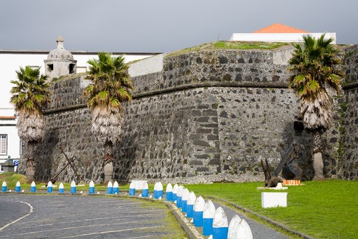 Stock Photo: 1486-15057 Fort Sao Bras in Ponta Delgada City, Sao Miguel Island, Azores, Portugal, Europe