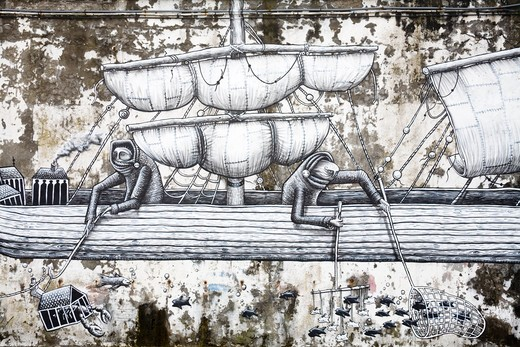 Stock Photo: 1486-15059 Mural on the Breakwater, Ponta Delgada City, Sao Miguel Island, Azores, Portugal, Europe