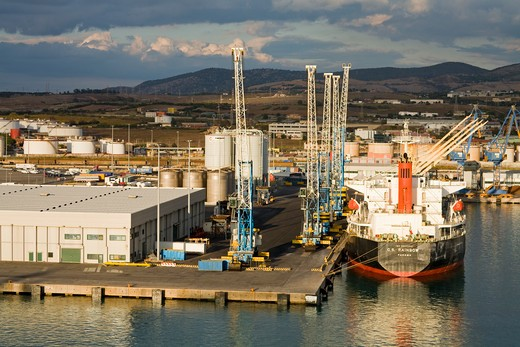 Ship in the Port of Civitavecchia, Rome, Italy, Europe : Stock Photo