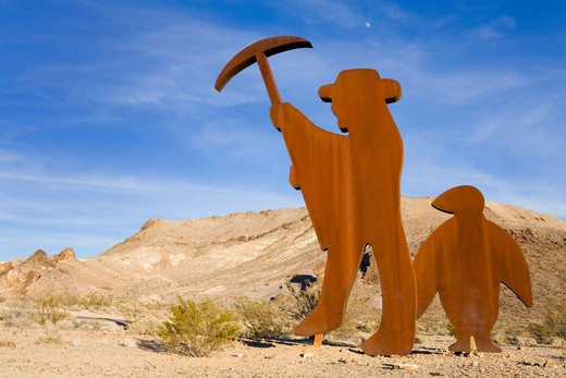 Goldwell sculpture museum at Rhyolite ghost town, Beatty, Nevada, USA, North America : Stock Photo