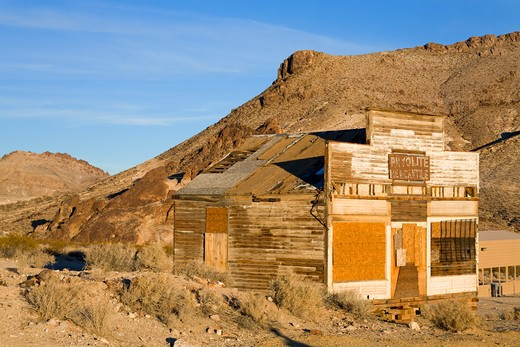 Stock Photo: 1486-15378 Mercantile at the Rhyolite ghost town, Beatty, Nevada, USA, North America