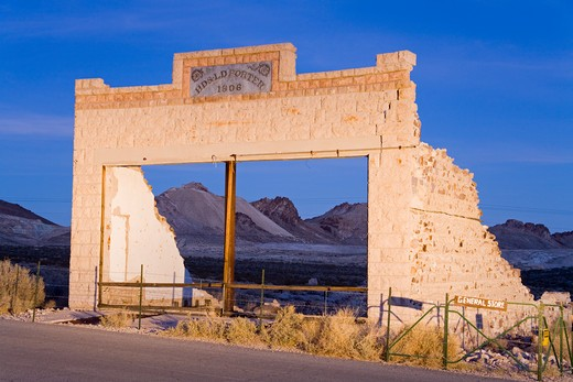 Stock Photo: 1486-15383 Rhyolite ghost town, Beatty, Nevada, USA, North America