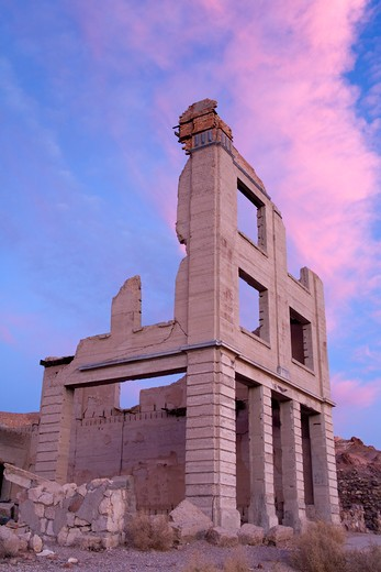 Cook Bank in the Rhyolite ghost town, Beatty, Nevada, USA, North America : Stock Photo