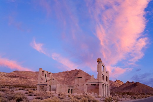 Stock Photo: 1486-15390 Cook Bank in the Rhyolite ghost town, Beatty, Nevada, USA, North America