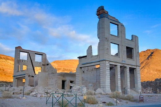 Stock Photo: 1486-15392 Cook Bank in the Rhyolite ghost town, Beatty, Nevada, USA, North America