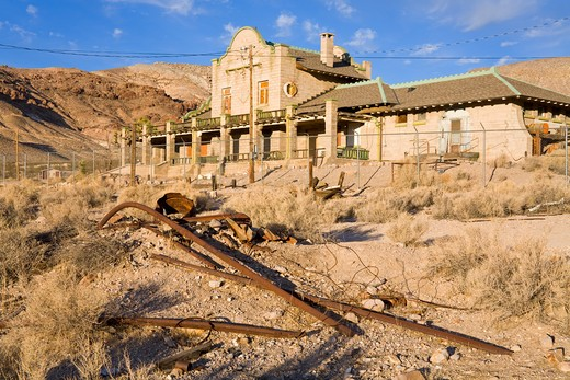 Stock Photo: 1486-15393 Railway station in the Rhyolite ghost town, Beatty, Nevada, USA, North America