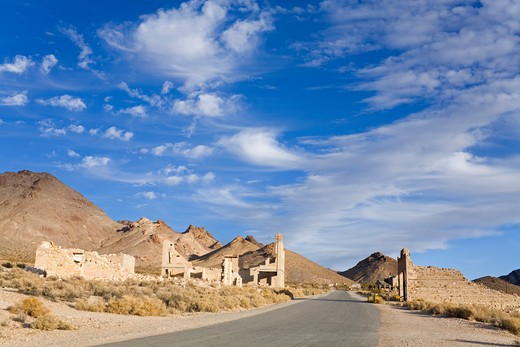 Rhyolite ghost town, Beatty, Nevada, USA, North America : Stock Photo