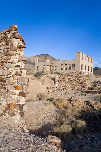 School in the Rhyolite ghost town, Beatty, Nevada, USA, North America : Stock Photo