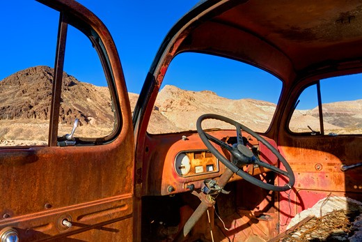 Stock Photo: 1486-15400 Truck in the Rhyolite ghost town, Beatty, Nevada, USA, North America