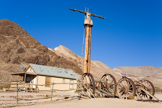 Stock Photo: 1486-15402 Goldwell sculpture museum at Rhyolite ghost town, Beatty, Nevada, USA, North America