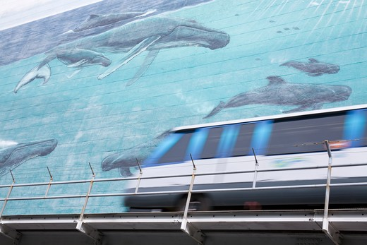 Metromover & mural by Wyland on SE 1st Street, Miami, Florida, USA : Stock Photo