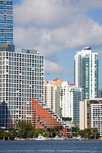 Miami skyline viewed from Key Biscayne, Miami, Florida, USA : Stock Photo