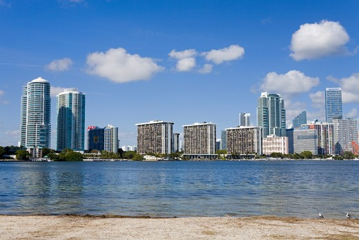 Stock Photo: 1486-15495 Miami skyline viewed from Key Biscayne, Miami, Florida, USA