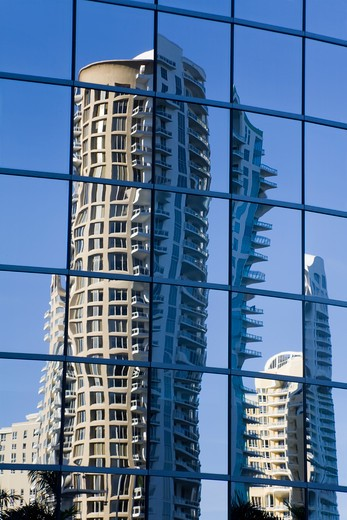 Stock Photo: 1486-15501 Reflections in downtown skyscrapers, Miami, Florida, USA