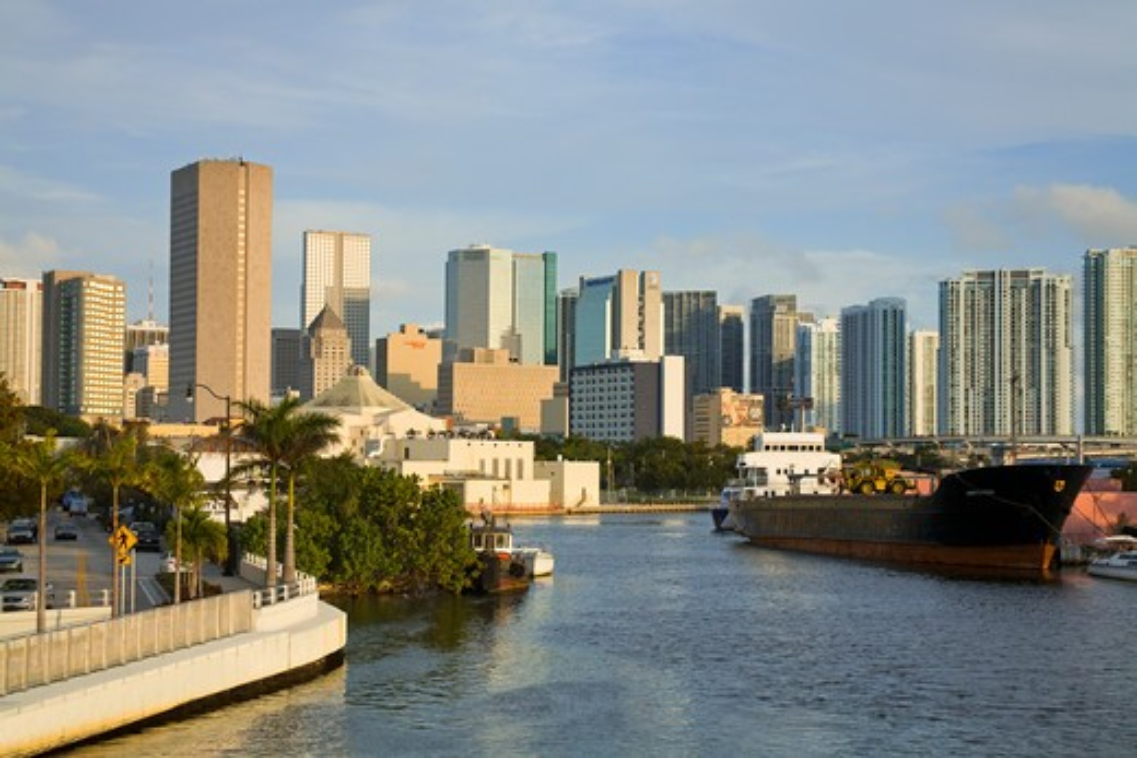Miami River & skyline, Miami, Florida, USA : Stock Photo