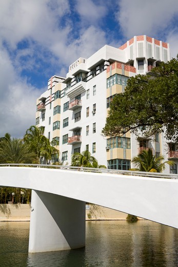 Stock Photo: 1486-15617 Helen Mar aparments & Collins Canal, Miami Beach, Florida, USA