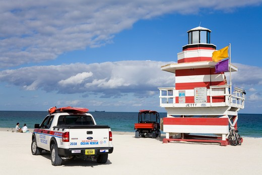 Stock Photo: 1486-15624 Lifeguard tower on South Beach, City of Miami Beach, Florida, USA