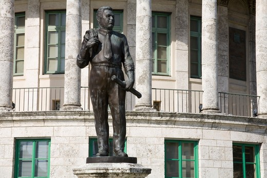 Stock Photo: 1486-15635 George Merrick statue outside Coral Gables City Hall, Miami, Florida, USA