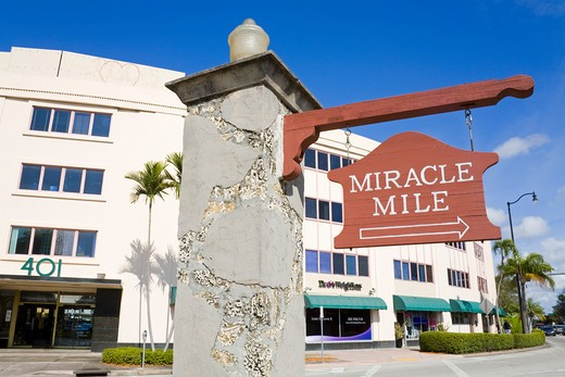 Miracle Mile sign in Coral Gables, Miami, Florida, USA : Stock Photo