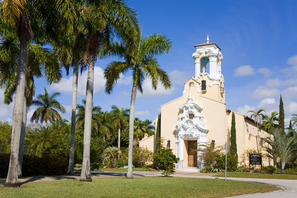 Historic Congregational Church, Coral Gables, Miami, Florida, USA : Stock Photo