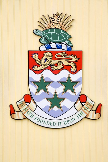 Cayman Islands crest on welcome sign, George Town, Grand Cayman, Cayman Islands, Greater Antilles, Caribbean : Stock Photo