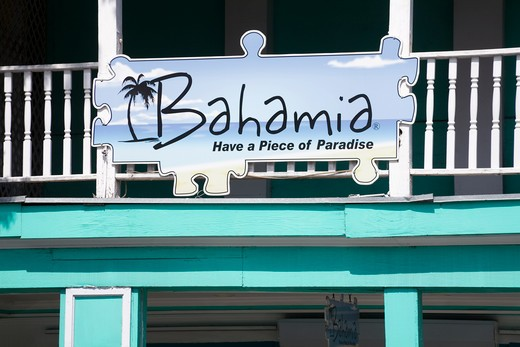 Stock Photo: 1486-15841 Close-up of a store sign, Bay Street, Nassau, New Providence Island, Bahamas