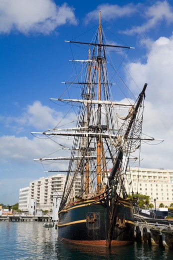 HMS Bounty in the Old City of San Juan, Puerto Rico : Stock Photo