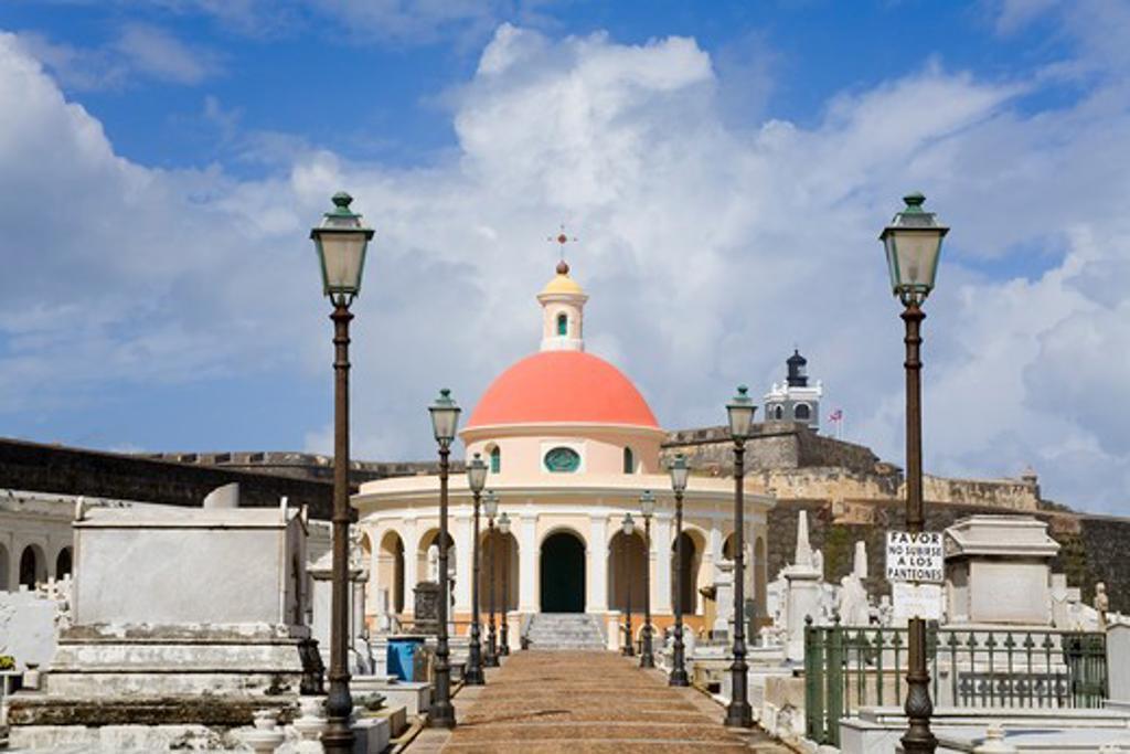 Stock Photo: 1486-15869 Mausoleum in Santa Maria Magdalena Cemetery, Old San Juan, San Juan, Puerto Rico
