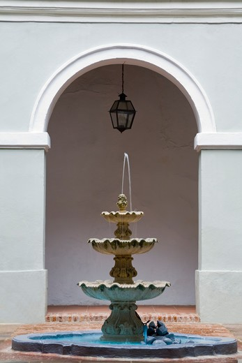 Fountain in a colonial building, Old San Juan, San Juan, Puerto Rico : Stock Photo