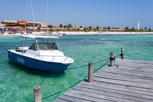Stock Photo: 1486-15926 Mexico, Quintana Roo, Costa Maya,  Mahahaul Beach, Pier