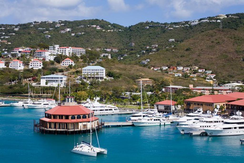 United States Virgin Islands, Caribbean , St. Thomas Island, Charlotte Amalie City, Yacht Haven Grande Marina : Stock Photo