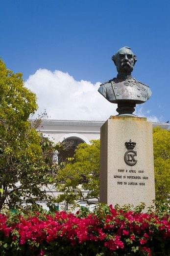 Stock Photo: 1486-15962 United States Virgin Islands, Caribbean , St. Thomas Island,  Charlotte Amalie City, Bust of Danish King Christian in Emancipation Park