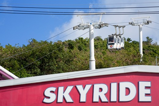 Stock Photo: 1486-15984 Caribbean, United States Virgin Islands, St. Thomas Island, Charlotte Amalie City, Skyride cable car