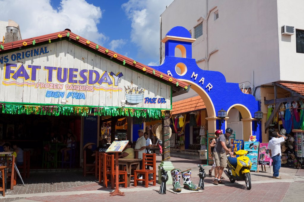 Stock Photo: 1486-16096 Fat Tuesday restaurant in San Miguel, Cozumel, Quintana Roo, Yucatan Peninsula, Mexico